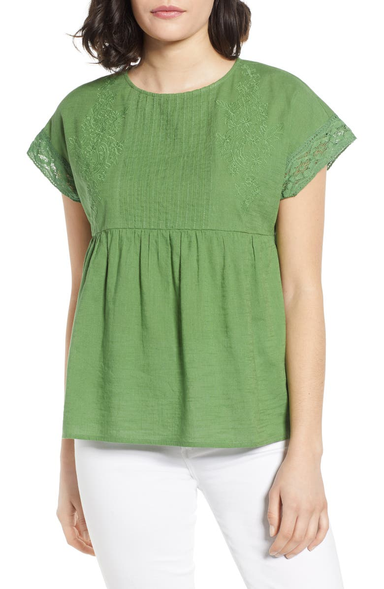 CASLON<SUP>®</SUP> Lace Detail Top, Main, color, GREEN WILLOW