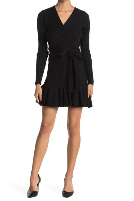 Image of A.Calin Wrap Tie Rib Knit Sweater Dress