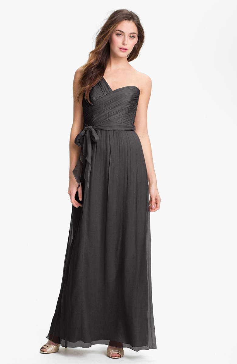 AMSALE Ruched One-Shoulder Chiffon Gown, Main, color, 020