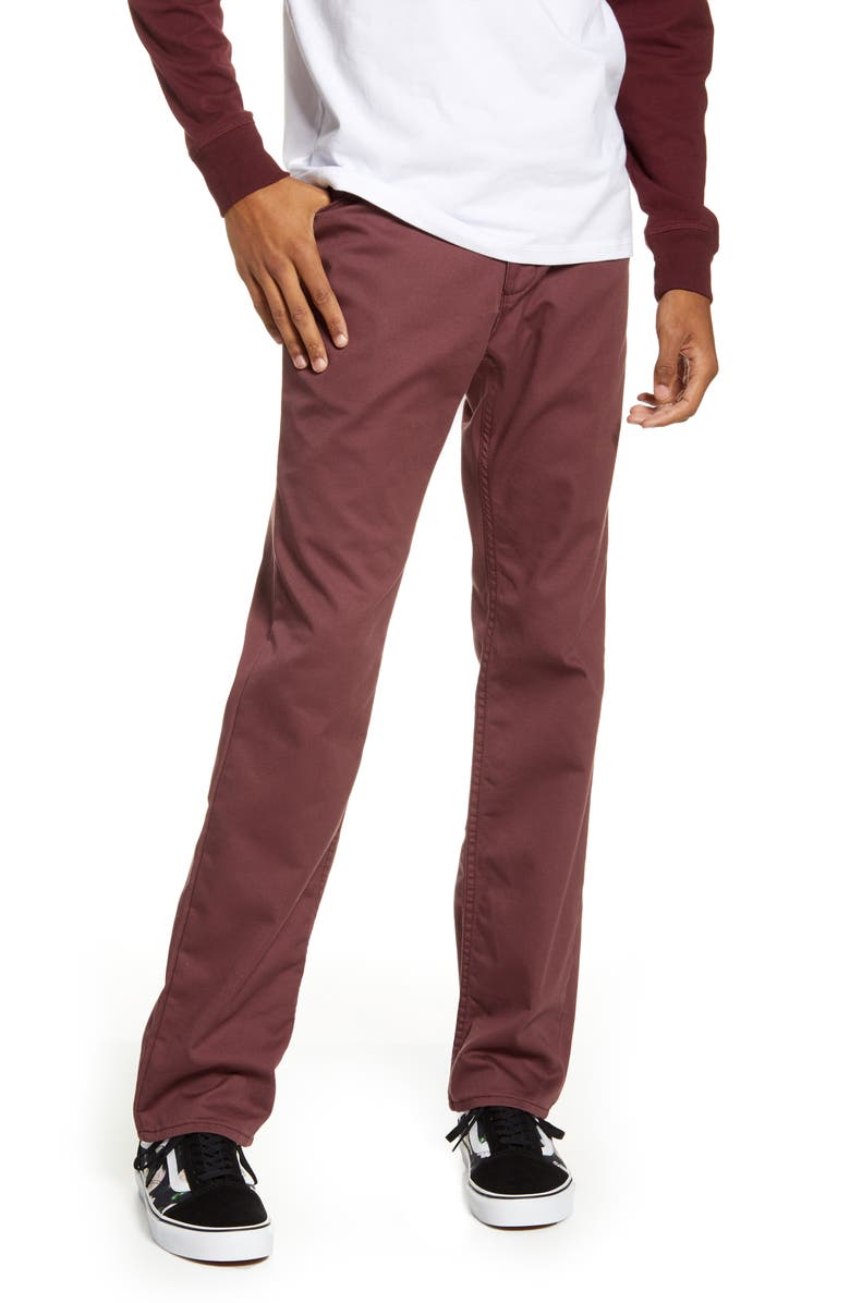 VANS V56 Standard Fit AV Covina Pants, Main, color, PORT