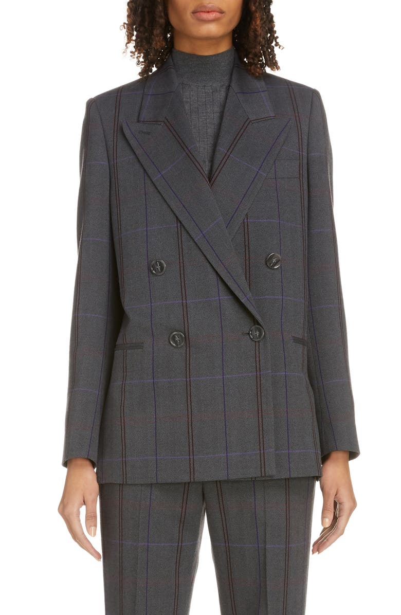 ACNE STUDIOS Plaid Double Breasted Wool Blend Blazer, Main, color, GREY/ PURPLE
