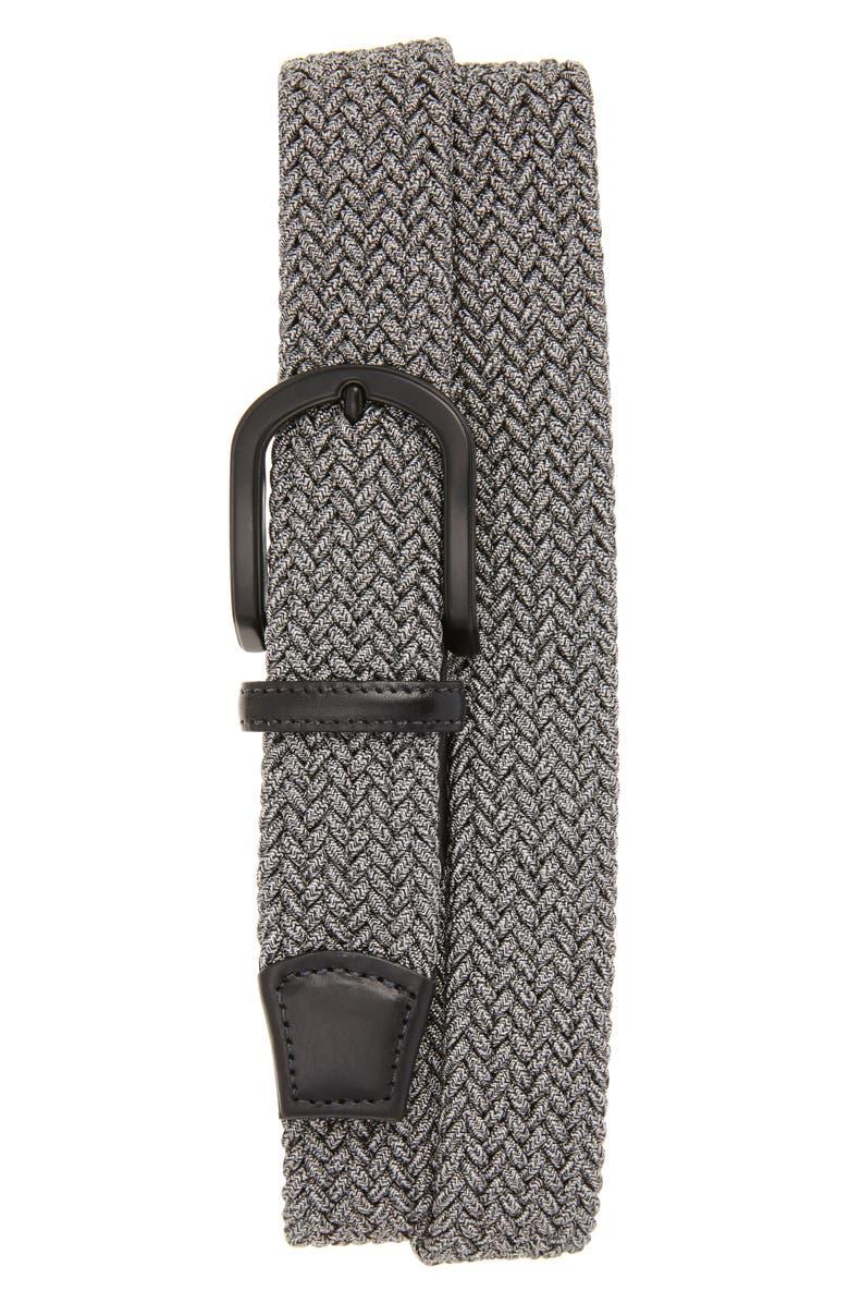 TORINO Braided Mélange Belts, Main, color, GREY