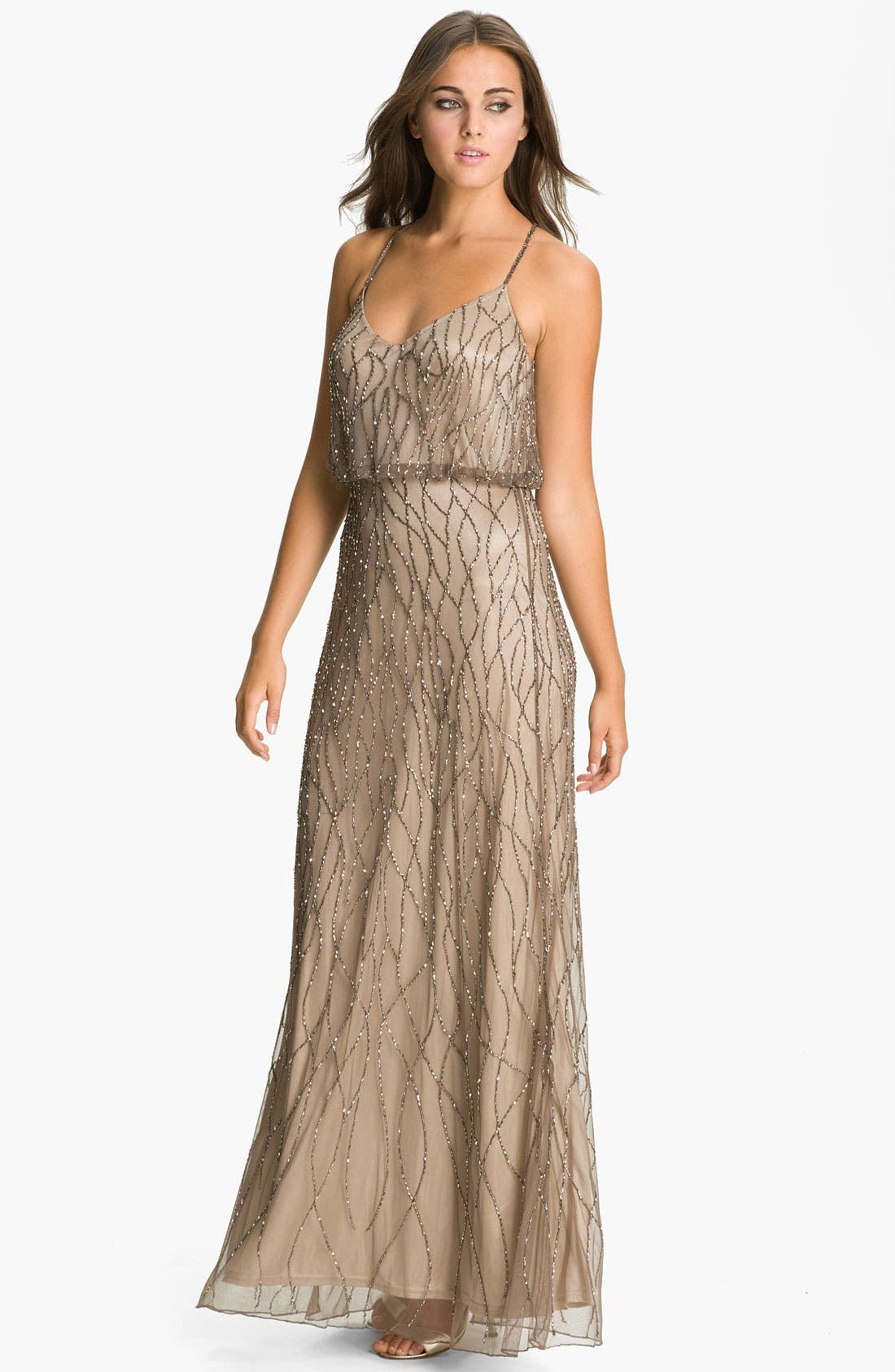Beaded Mesh Blouson Gown, Main, color, 214