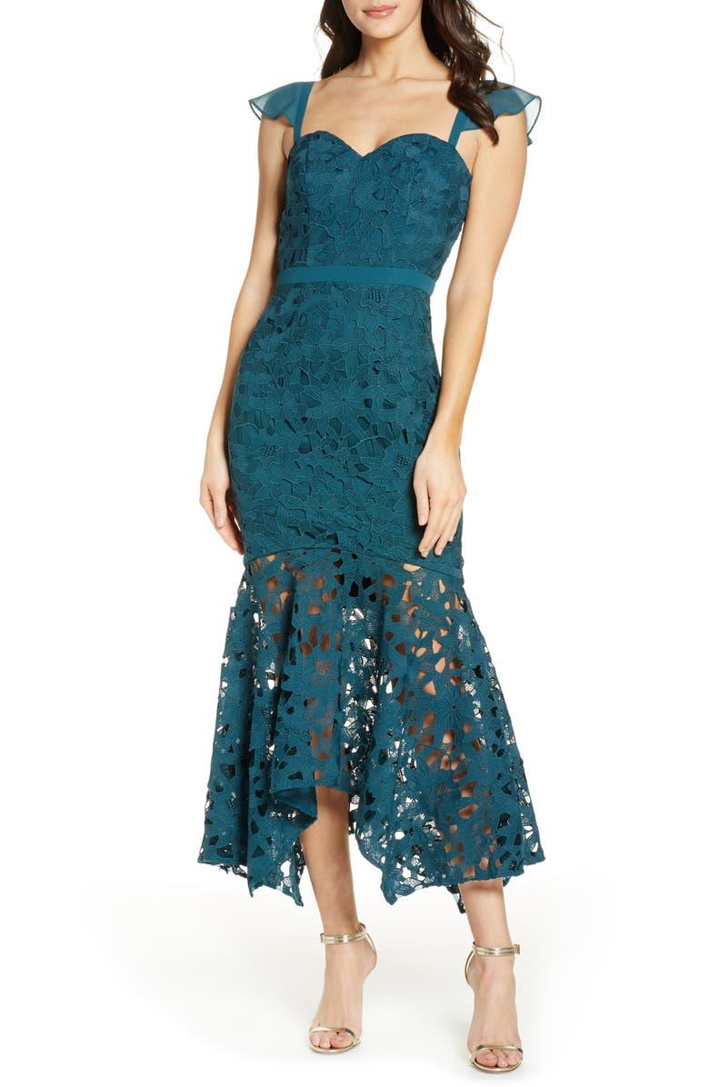 CHI CHI LONDON Lupita Lace Mermaid Dress, Main, color, TEAL