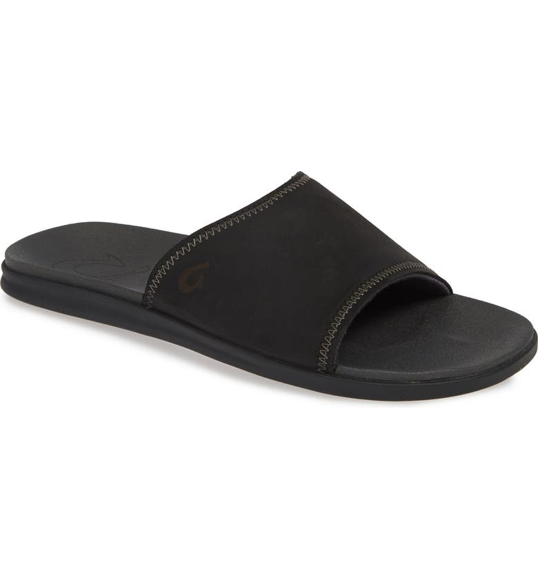 OLUKAI Alania Slide Sandal, Main, color, BLACK/ DARK SHADOW LEATHER