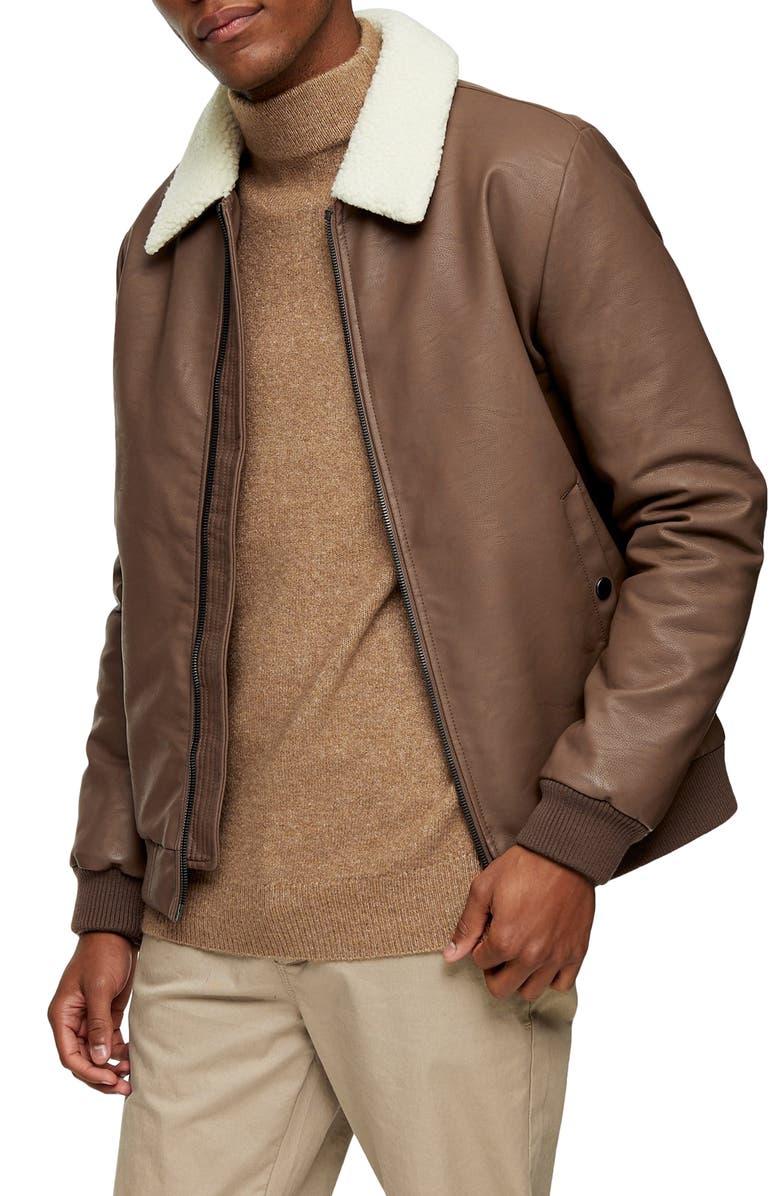 TOPMAN Faux Shearling Collar & Faux Leather Flight Jacket, Main, color, DARK BROWN