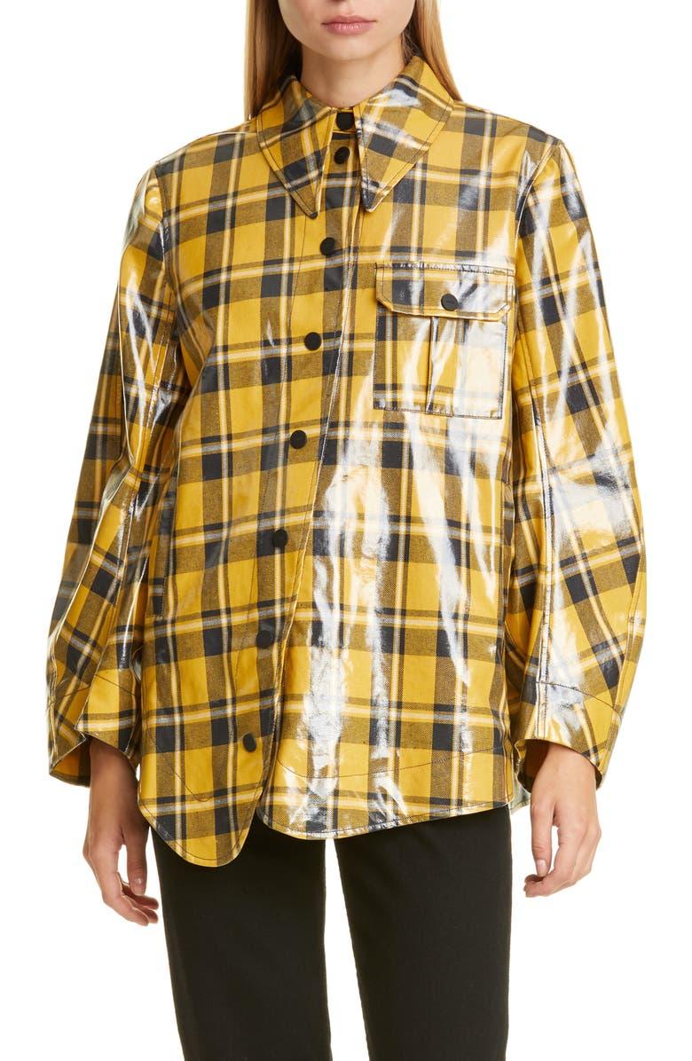 GANNI Plaid Coated Twill Shirt Jacket, Main, color, BLACK
