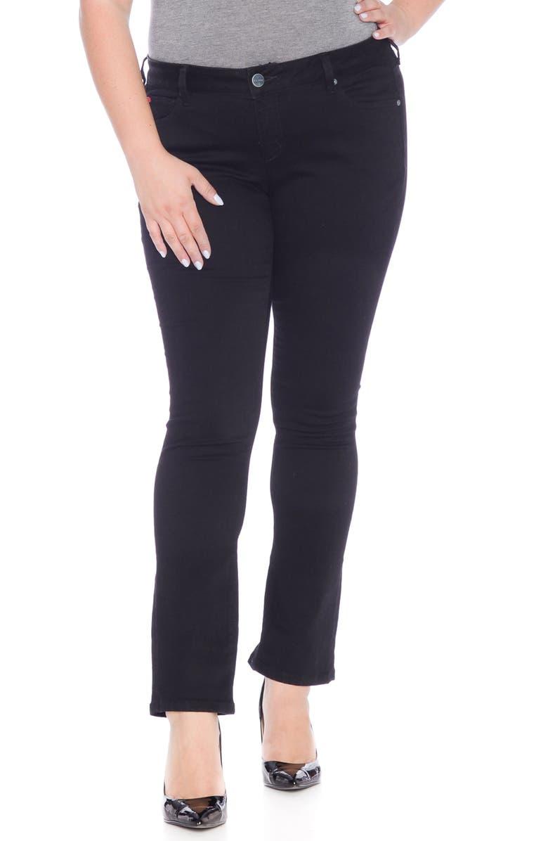 SLINK JEANS Straight Leg Black Jeans, Main, color, BLACK