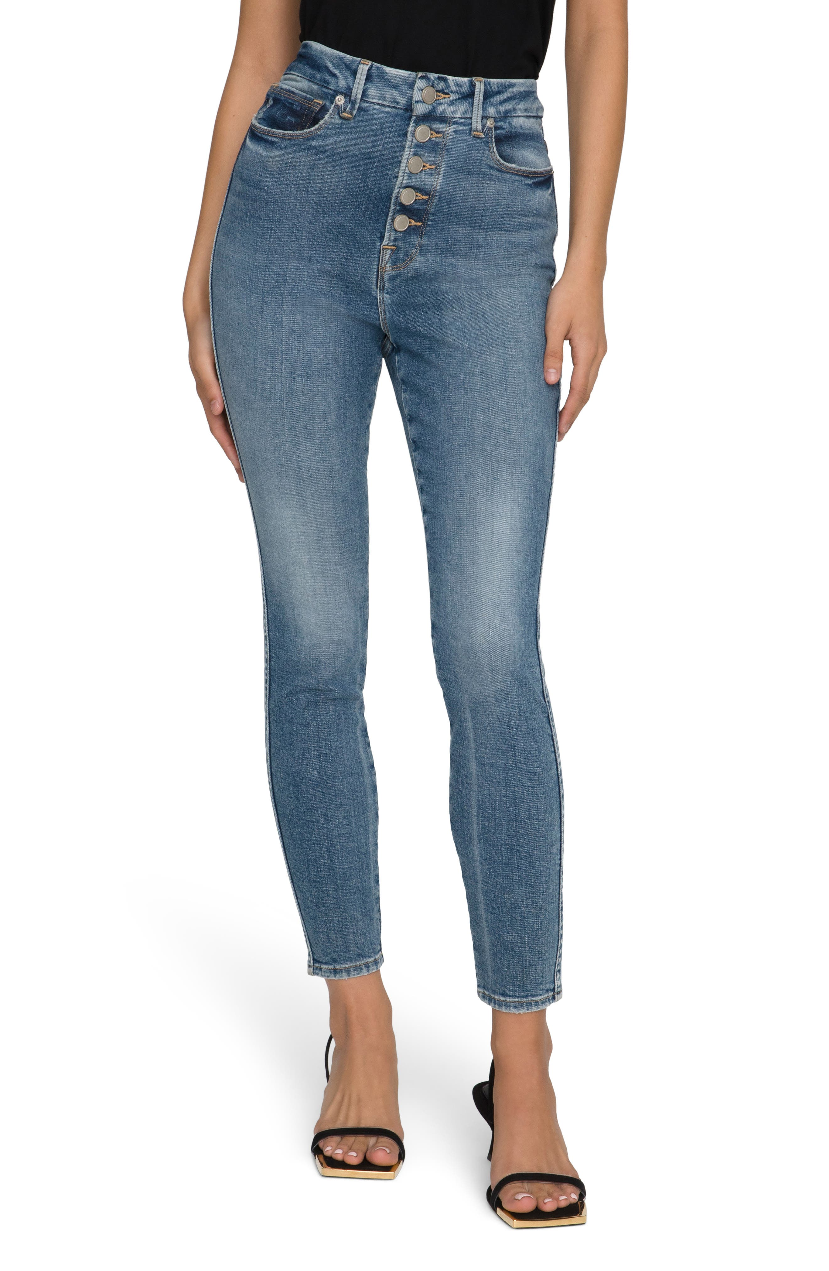 Good Curve Button Fly Ankle Skinny Jeans