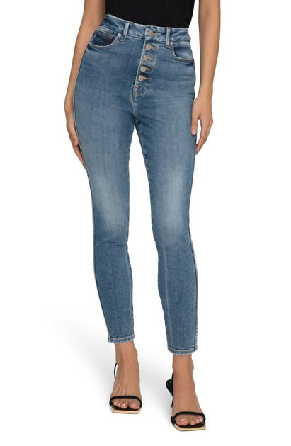 Good American GOOD CURVE BUTTON FLY ANKLE SKINNY JEANS