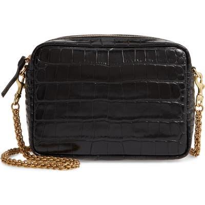 Clare V. Embossed Leather Crossbody Bag - Black