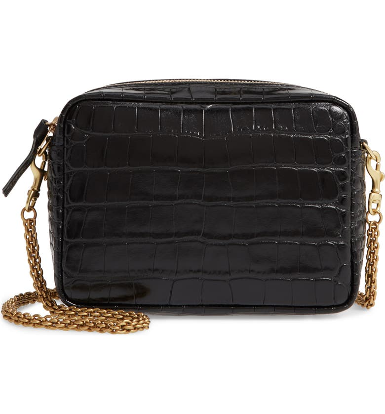 CLARE V. Embossed Leather Crossbody Bag, Main, color, BLACK CROCO