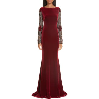 Badgley Mischka Collection Embellished Sleeve Velvet Gown, Red