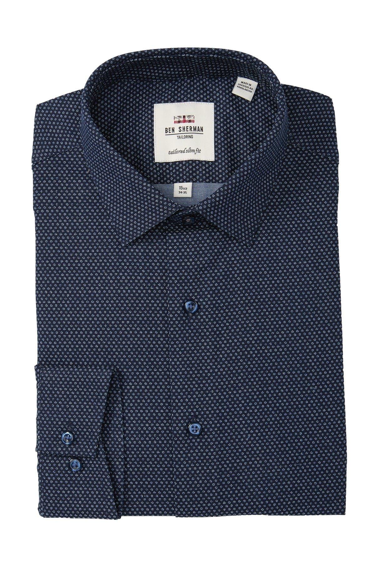 Image of Ben Sherman Dot Printed Oxford Tailored Slim Fit Dress Shirt