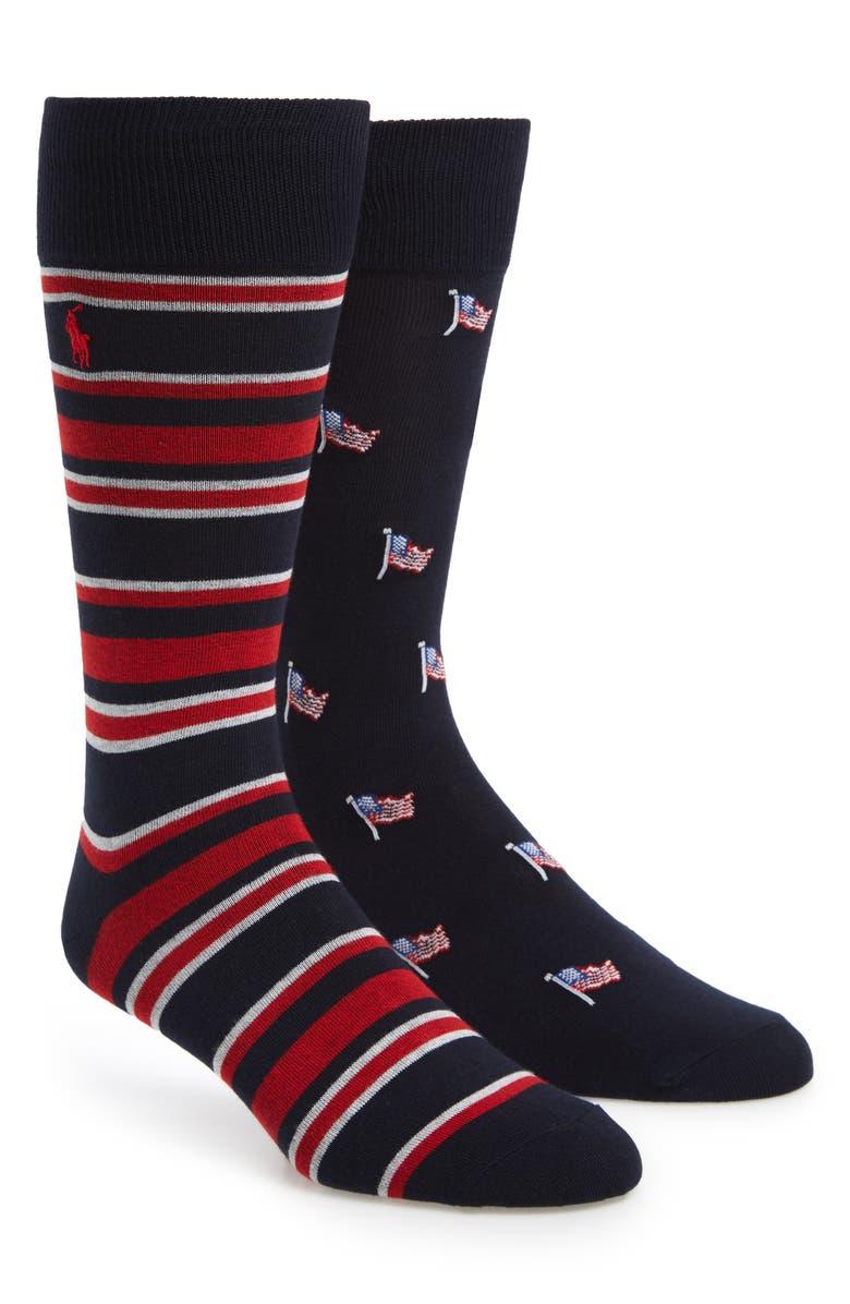 POLO RALPH LAUREN American Flag 2-Pack Socks, Main, color, 401