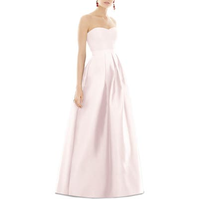 Alfred Sung Strapless Sateen Gown, Pink