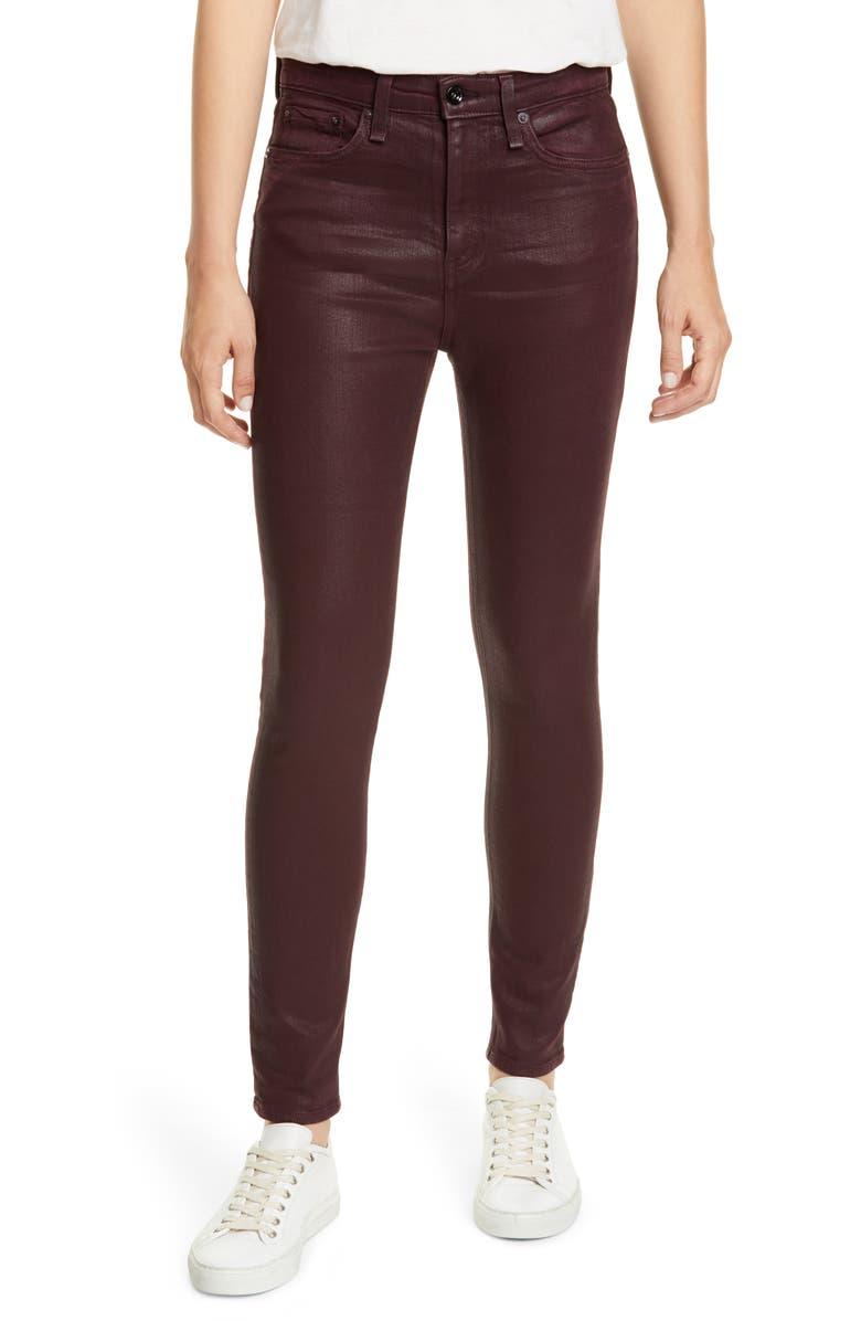 RAG & BONE Nina High Waist Ankle Skinny Jeans, Main, color, COATEDWINE