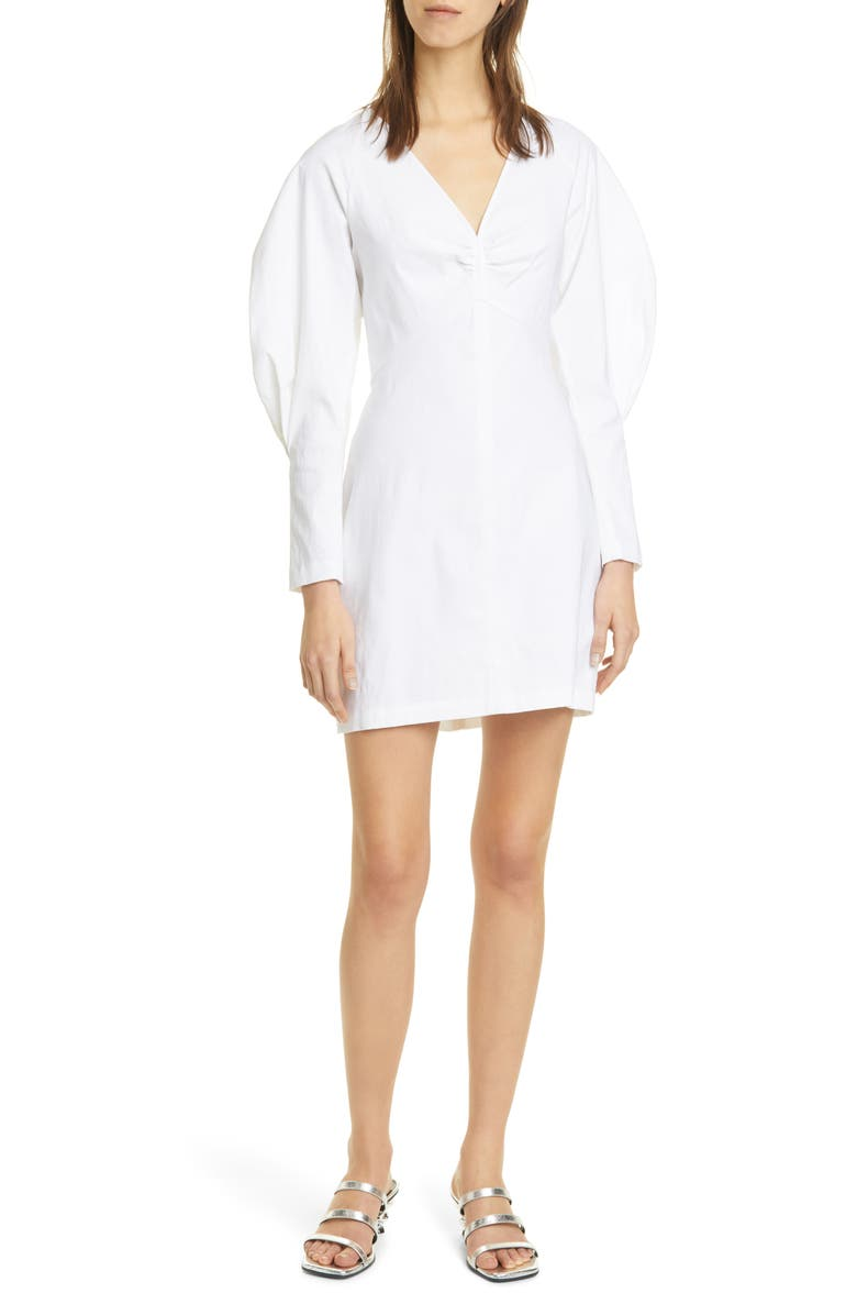 A.L.C. Aila Long Sleeve Linen Blend Minidress, Main, color, 100