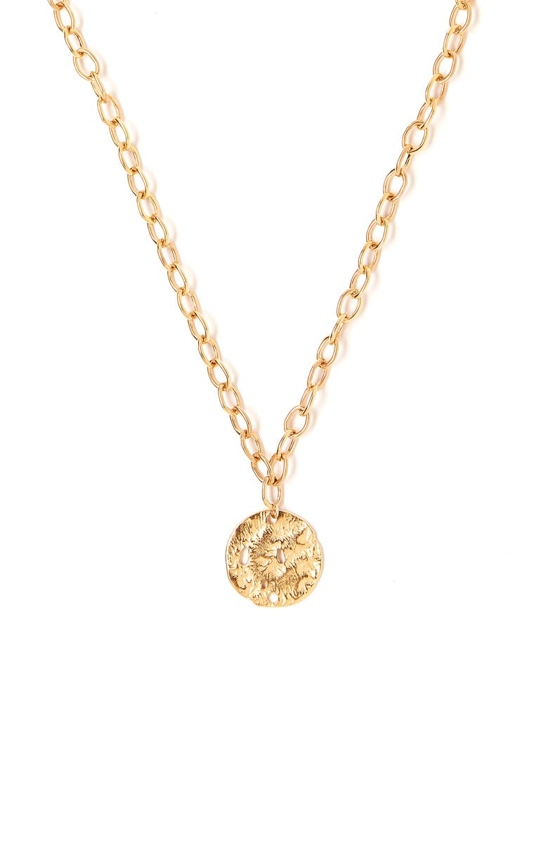 TESS + TRICIA Coin Pendant Necklace, Main, color, GOLD