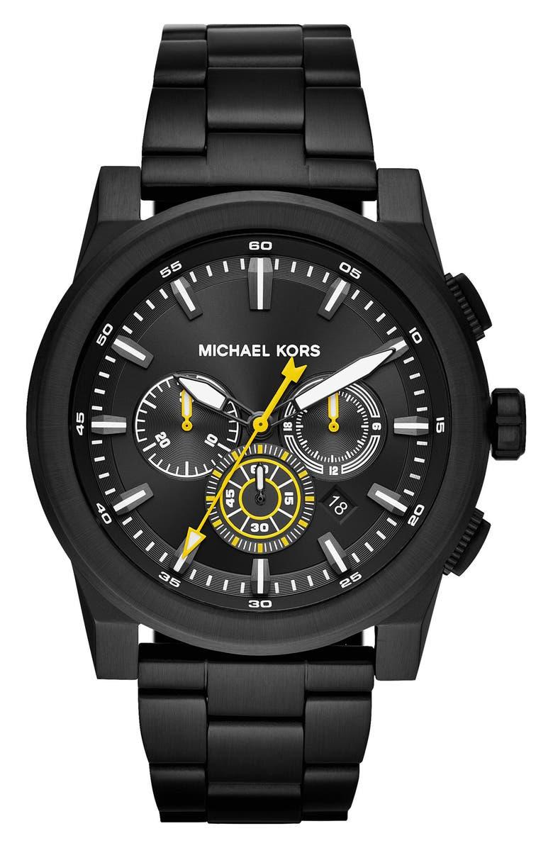 MICHAEL KORS Grayson Chronograph Bracelet Watch, 47mm, Main, color, BLACK