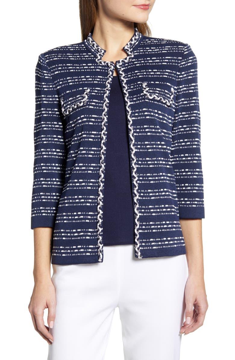 MING WANG Chain Trim Knit Jacket, Main, color, INDIGO/ WHITE