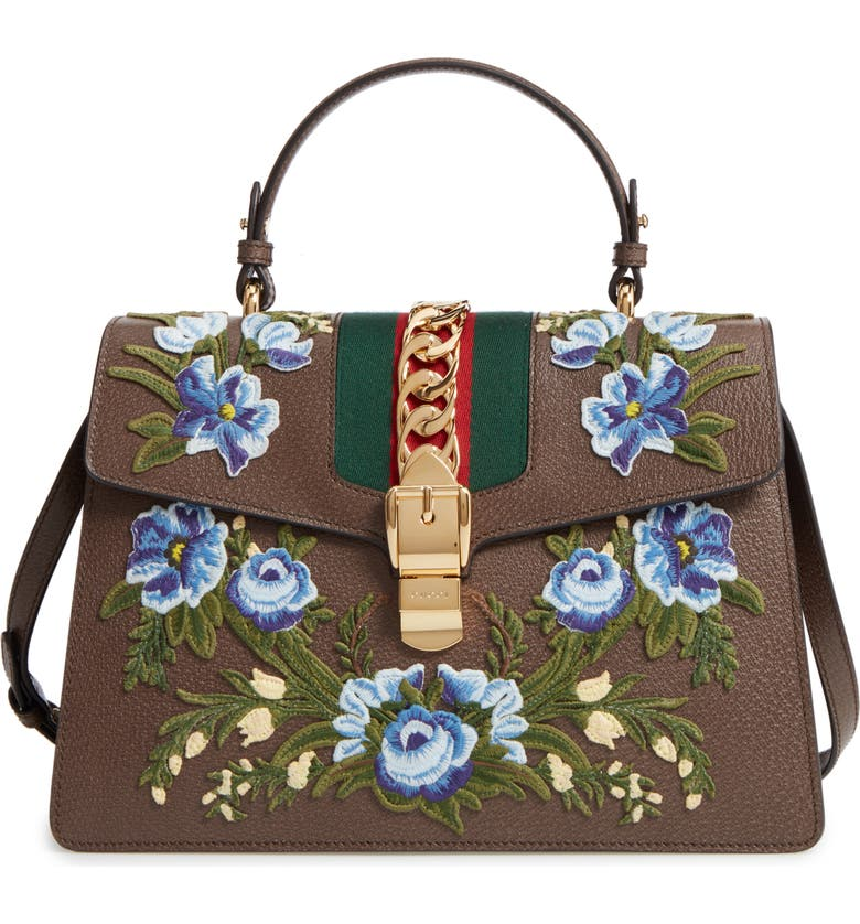 ab95ac8e3 Medium Sylvie Embroidered Top Handle Leather Shoulder Bag, Main, color, 031