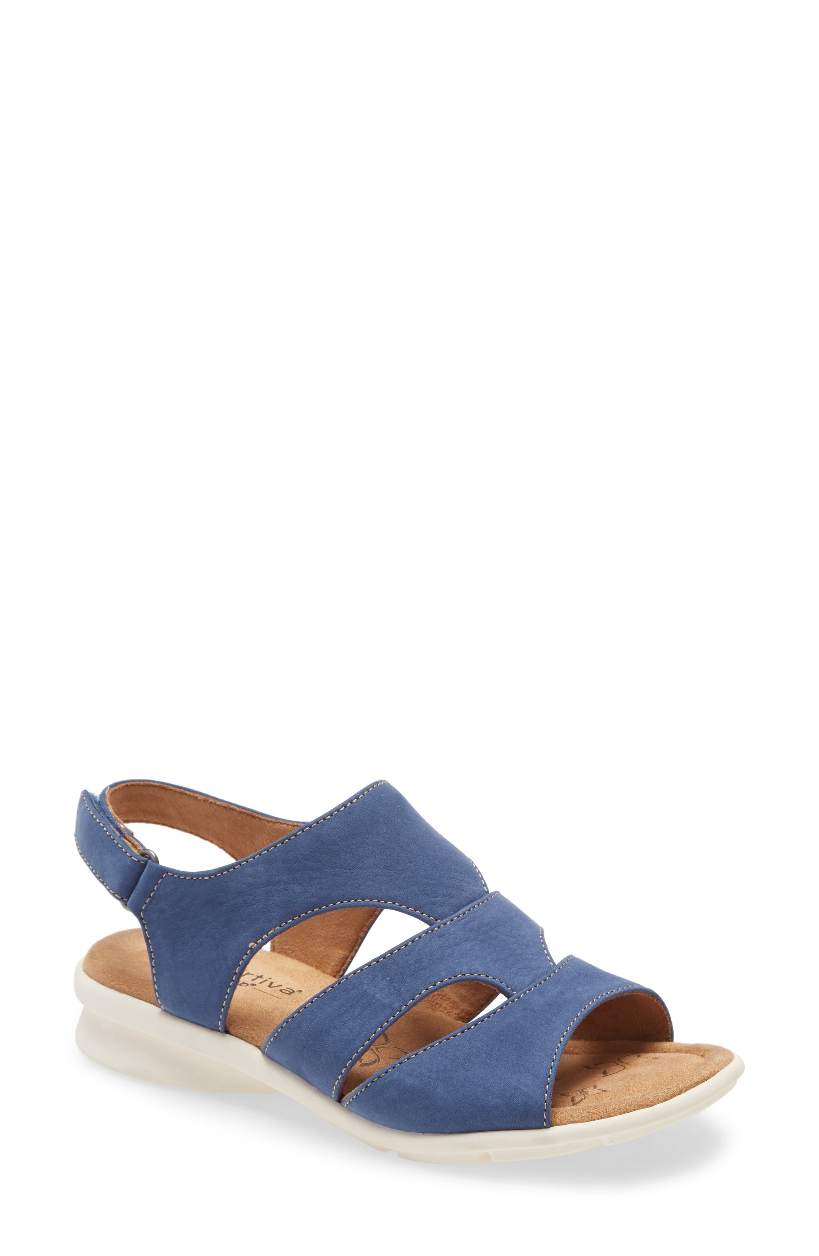 Comfortiva\\\'s Pillowtop memory foam-cushioned footbed adds exceptional comfort to a strappy walking sandal lifted by a sturdy sole. Style Name: Comfortiva Parma Sandal (Women). Style Number: 5996192. Available in stores.