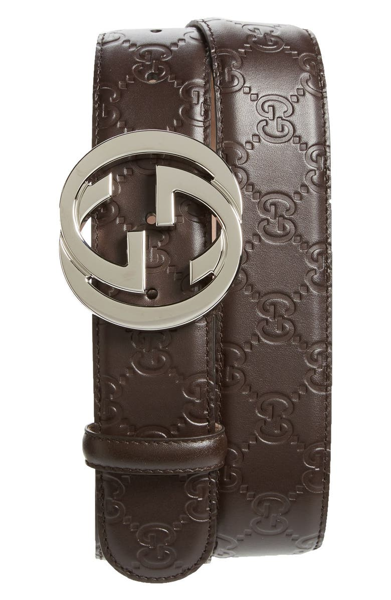 GUCCI Interlocking G Buckle Logo Embossed Leather Belt, Main, color, BROWN