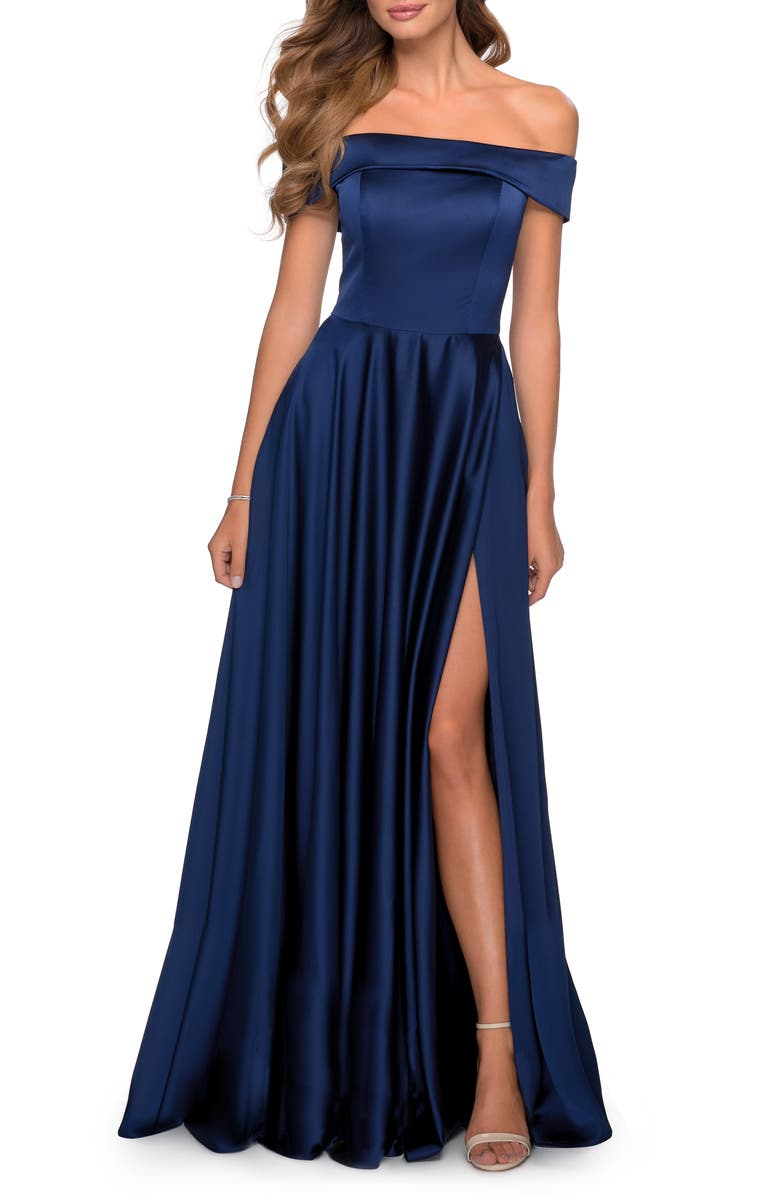 LA FEMME Off the Shoulder Satin Ballgown, Main, color, NAVY