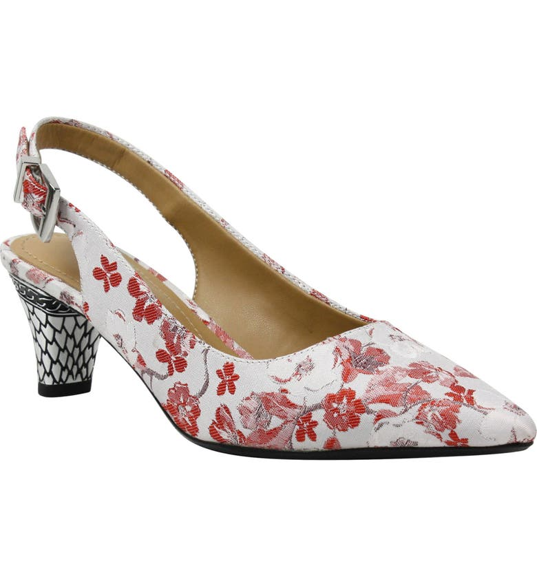 J. RENEÉ Mayetta Slingback Pump, Main, color, RED/ WHITE MULTI FABRIC