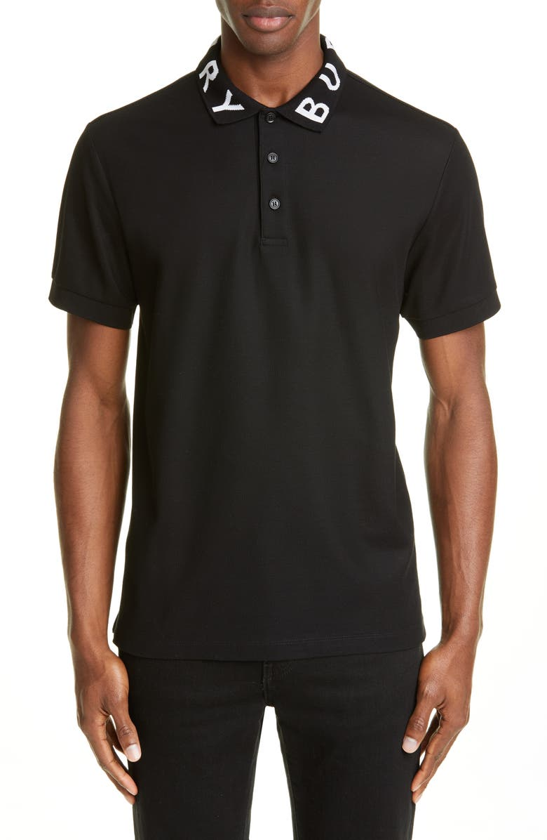 BURBERRY Ryland Logo Collar Short Sleeve Polo, Main, color, BLACK