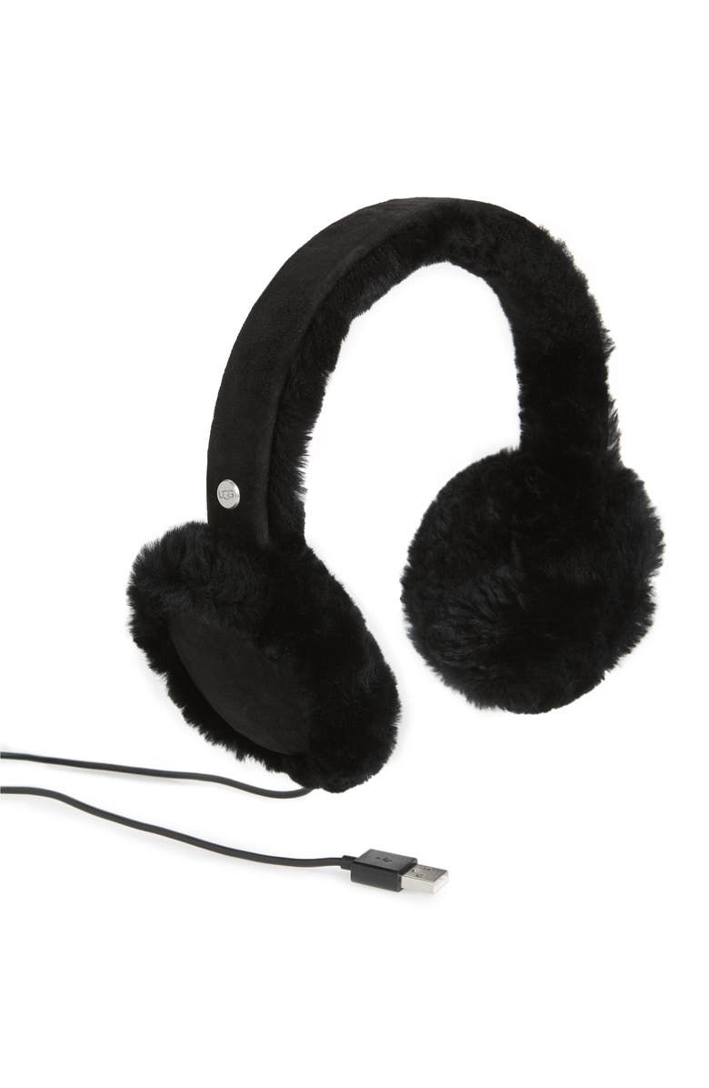 UGG<SUP>®</SUP> Collection Genuine Shearling Bluetooth<sup>®</sup> Earmuffs, Main, color, BLACK
