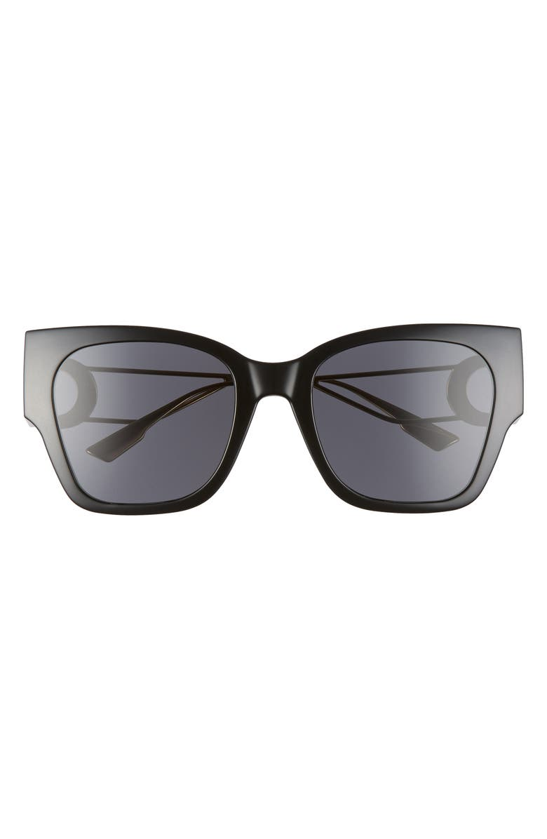 DIOR 30Montaigne1 55mm Square Sunglasses, Main, color, BLACK/ GOLD/ GREY