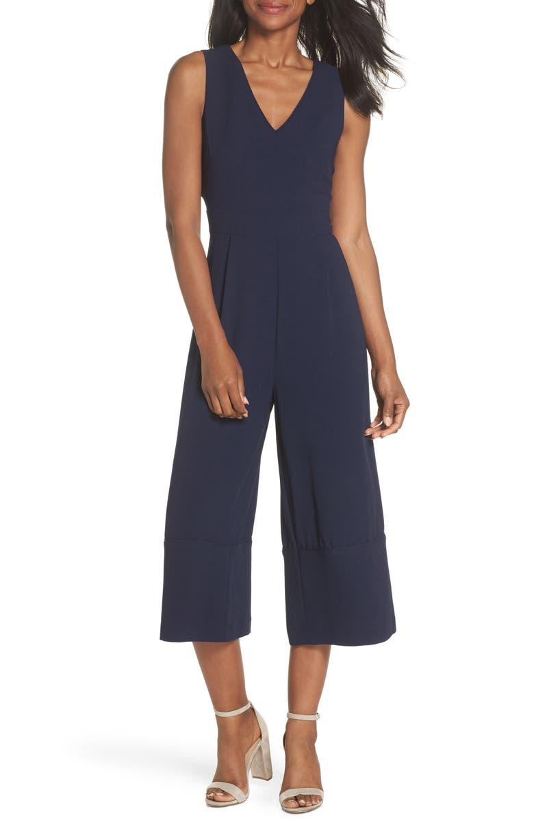 VINCE CAMUTO Crepe Open Back Crop Jumpsuit, Main, color, NAVY