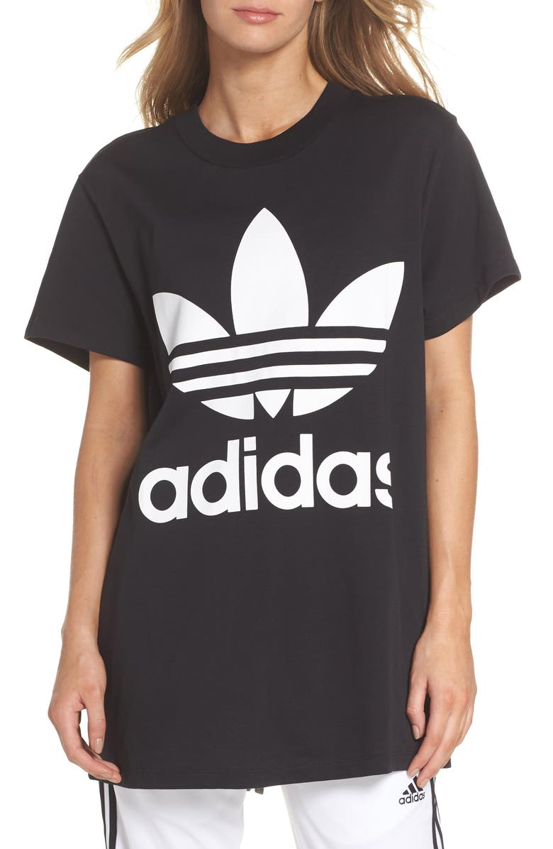 ADIDAS ORIGINALS Trefoil Logo Tee, Main, color, 002