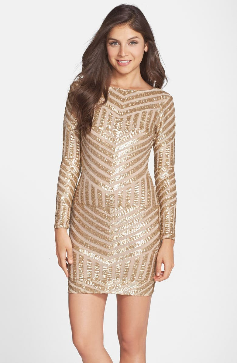 DRESS THE POPULATION Lola Sequin Body-Con Dress, Main, color, 225