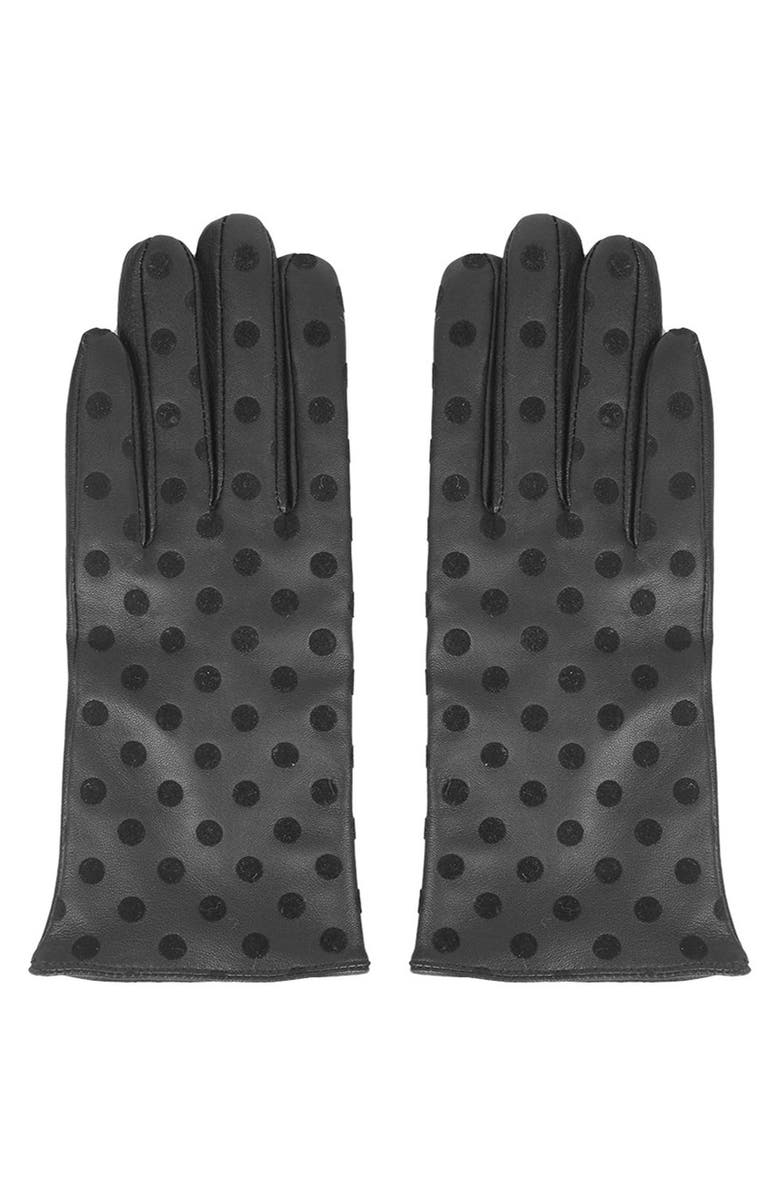 TOPSHOP Polka Dot Leather Gloves, Main, color, 001