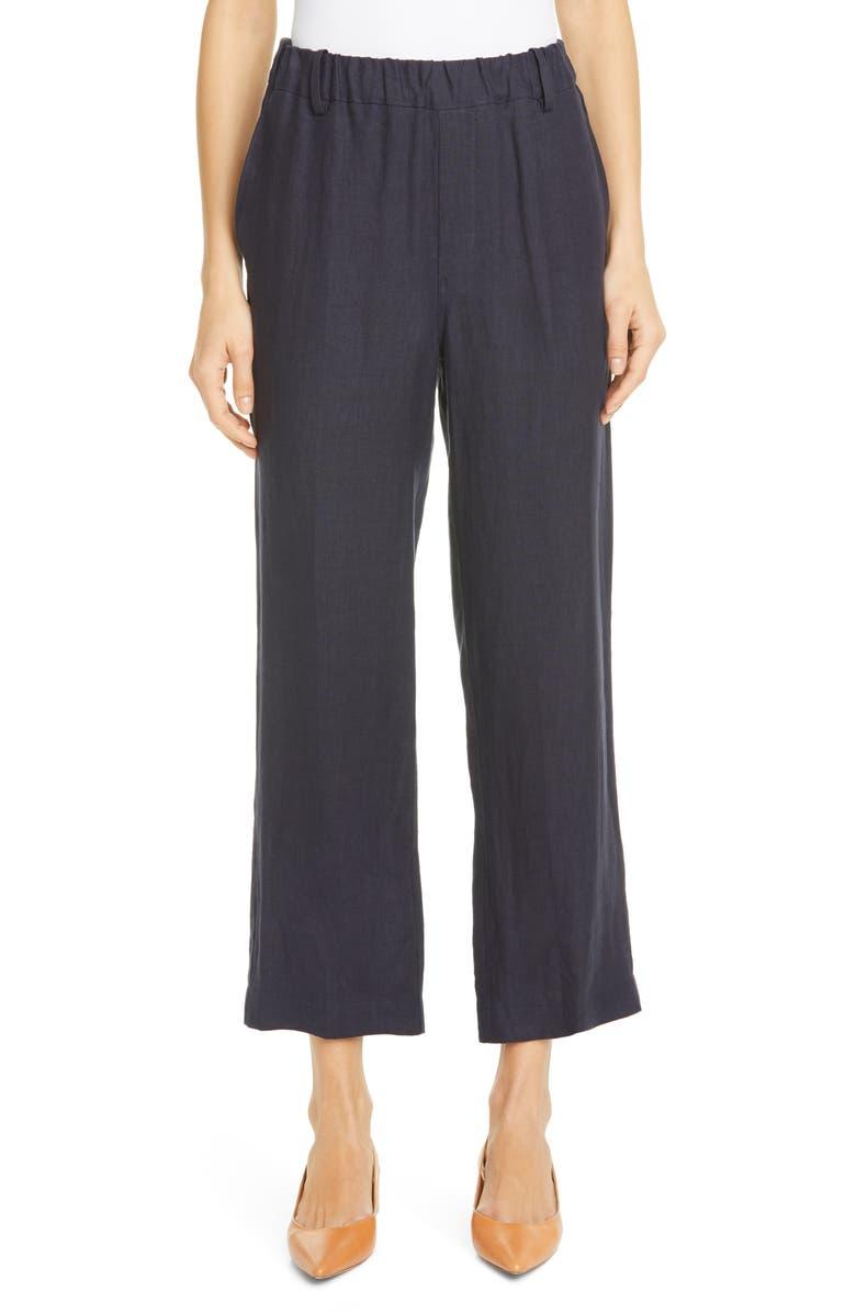 MANSUR GAVRIEL Linen Pull-On Pants, Main, color, BLUE