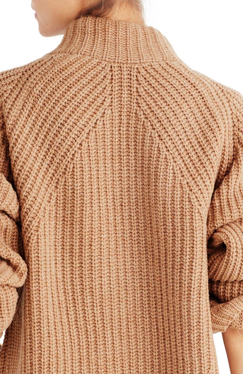 MADEWELL Rib Merino Zip Front Cardigan, Main, color, 250
