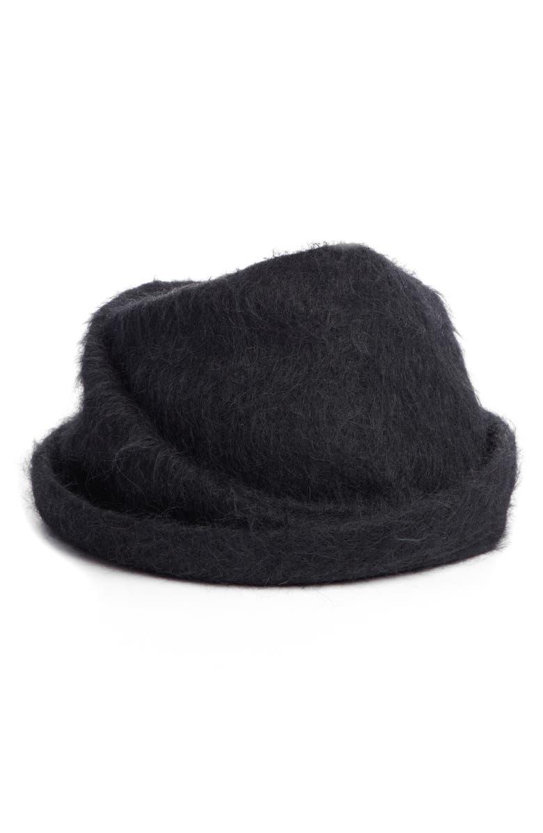 Y'S BY YOHJI YAMAMOTO Wool Blend Draped Hat, Main, color, 001