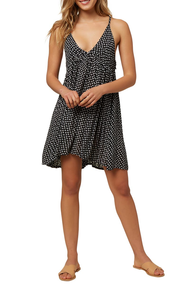 O'NEILL Saltwater Ditsy Cover-Up Tank Dress, Main, color, BLACK