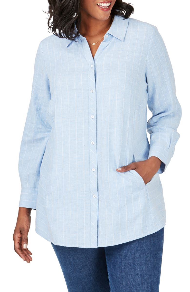 FOXCROFT Cici Herringbone Stripe Tunic Shirt, Main, color, BLUE SKY