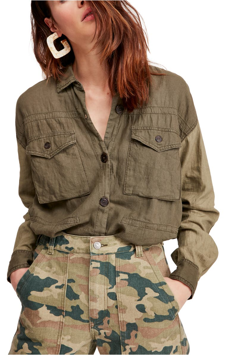 FREE PEOPLE Cargo Pocket Top, Main, color, GREEN