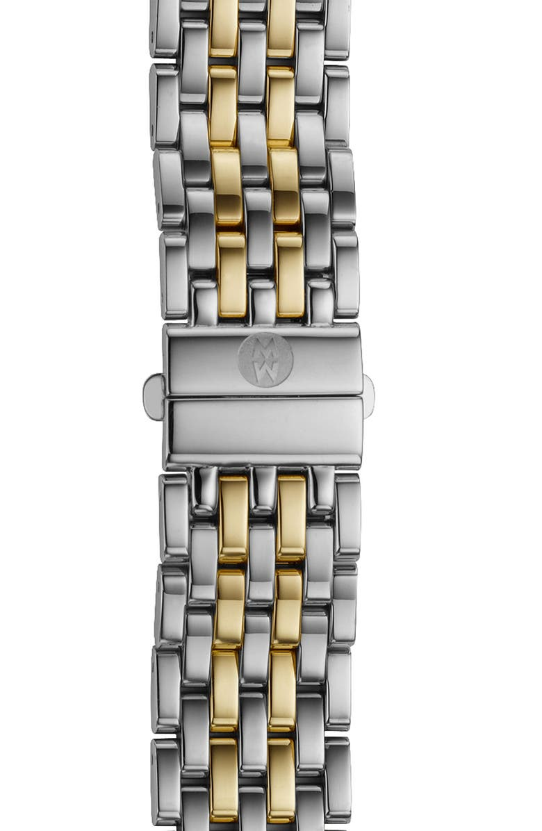 MICHELE Deco 16 16mm Two-Tone Bracelet Watchband, Main, color, SILVER/ GOLD