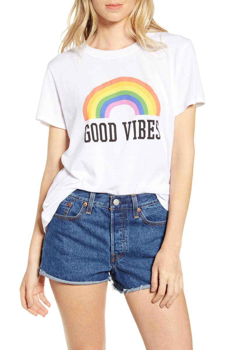 SUB_URBAN RIOT Good Vibes Rainbow Graphic Tee, Main, color, 100