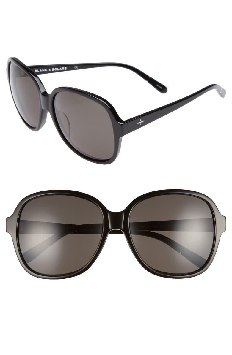 BLANC & ECLARE Beijing 61mm Polarized Sunglasses, Main, color, BLACK
