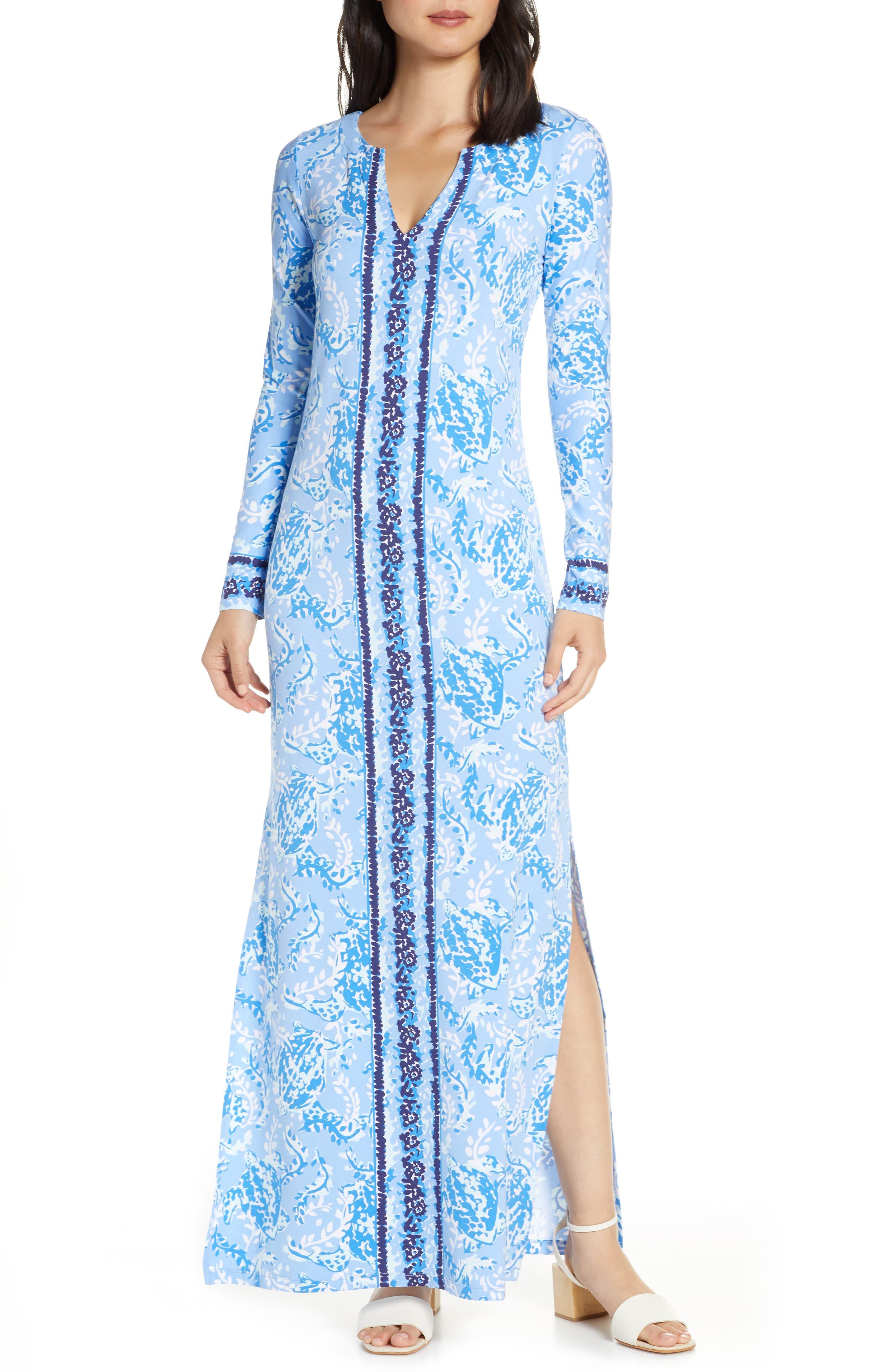 Lilly Pulitzer Faye Long Sleeve Upf 50+ Maxi Dress, Blue