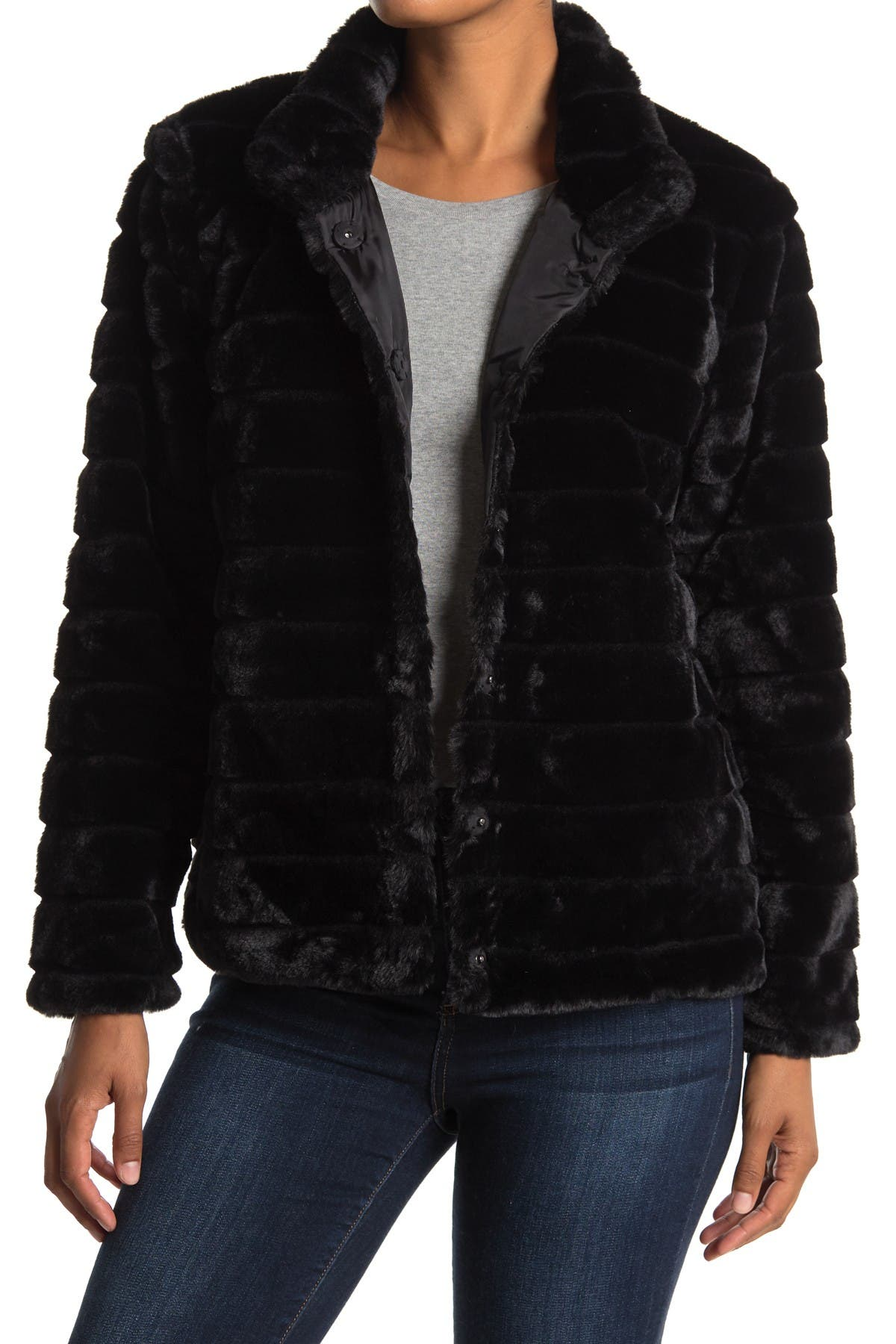 Image of Woven Heart Faux Fur Coat