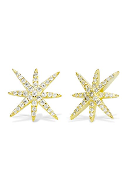 Image of Savvy Cie 18K Gold Plated Starburst CZ Stud Earrings