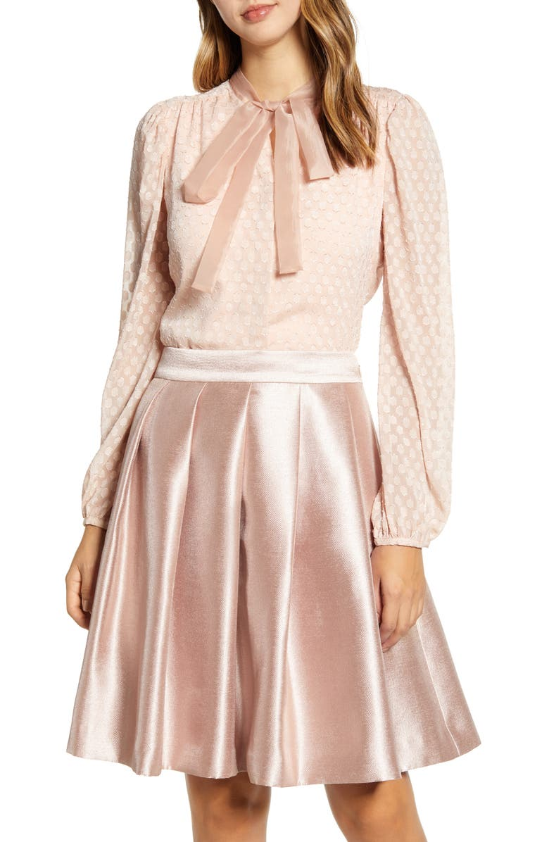 RACHEL PARCELL Textured Dot Bow Blouse, Main, color, PINK DUST